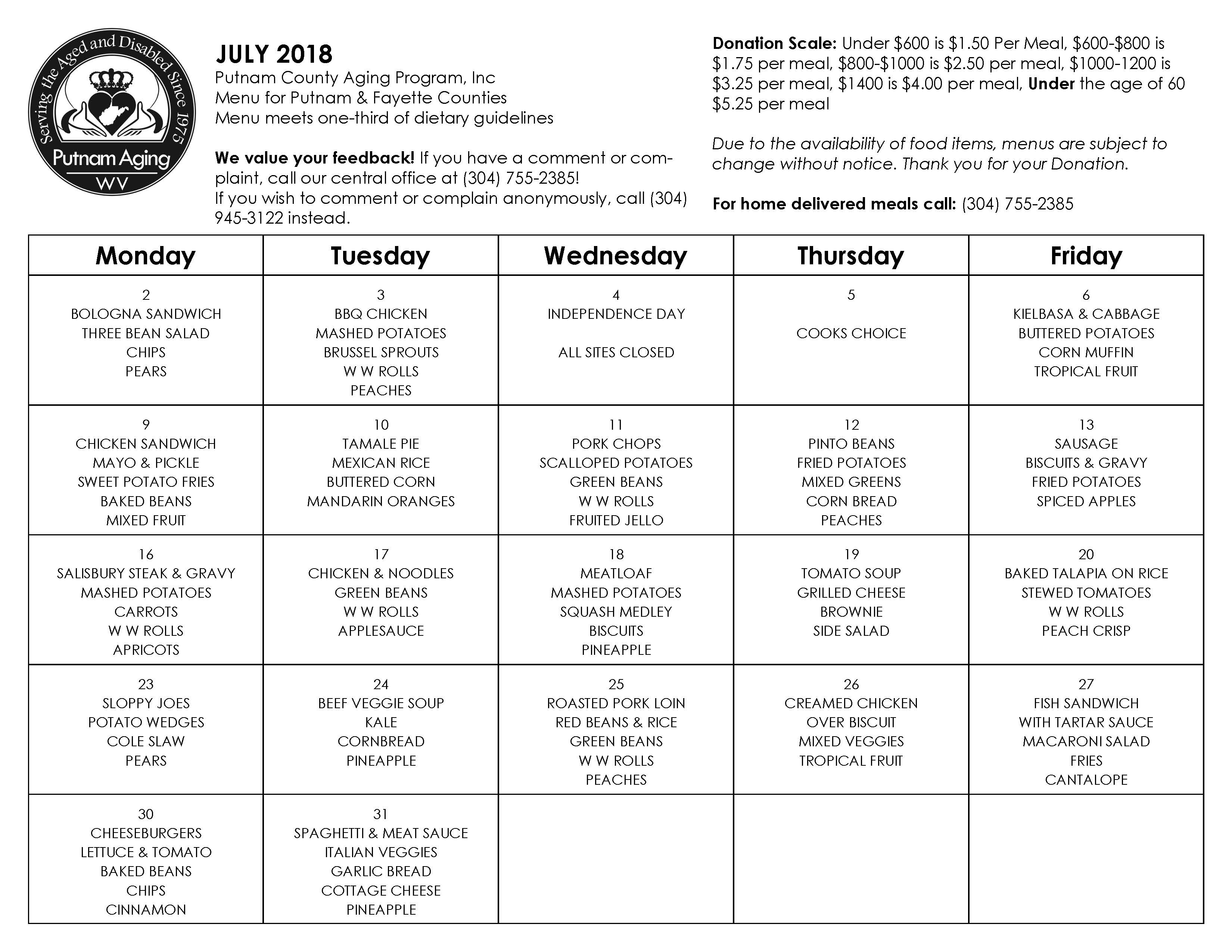 July 2018 Senior Nutrition Menu