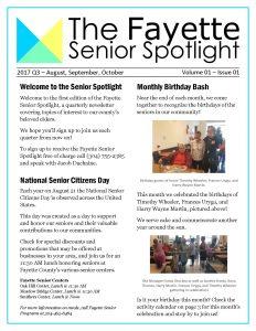 Fayette Senior Spotlight Issue 1, Volume 1